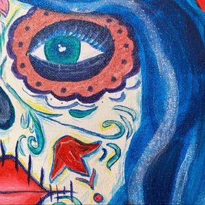 "Canvas Art Woman dia de muert Paint Acrylic 8""x10"""